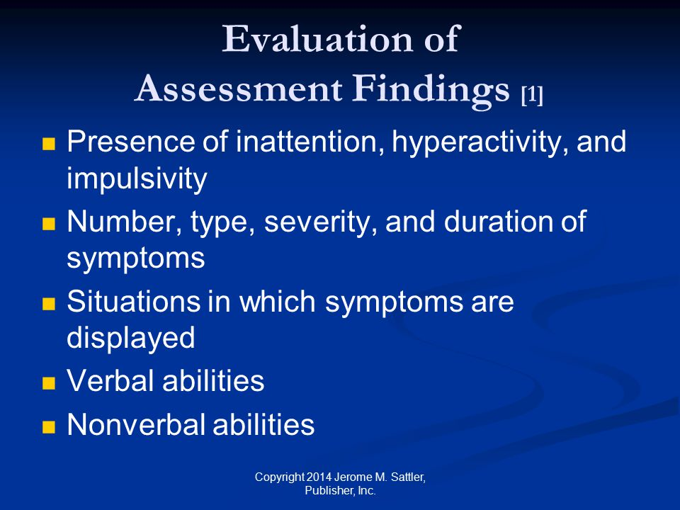 Evaluation of Assessment Findings [1]